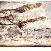 Flieger, 2016/17, Öl auf Holz, 33 x 43 cm