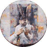 Hase, 2014, Öl auf MDF, 98 cm