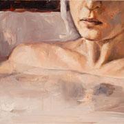 Freischwimmerin, 2014, Öl auf Holz, 25 x 40 cm
