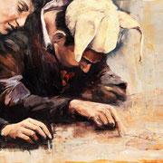 Der Narr (das Paar), 2017, Öl auf MDF, 43 x 50 cm