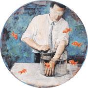 Goldfischer, Öl auf MDF, 67 cm