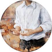 Mit leeren vollen Händen III, 2013, Öl auf MDF, 67 cm