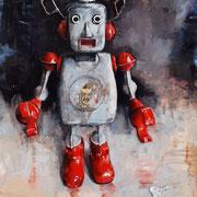 Everyday Robot, 2018, Öl auf MDF, 42 x 37 cm