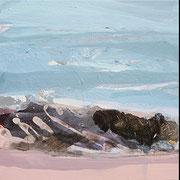 impression bleu-aprikot I-III - acryl auf leinwand, je 30 x 30 cm