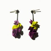 Aurélie Lejeune - boucle Lichen Violet/anis - porcelaine froide - tige argent oxidé -