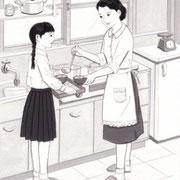 「週刊金曜日」3月21日号掲載・主婦と科学、挿絵 2014