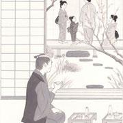 挿絵練習3「白い猫」池波正太郎、2013