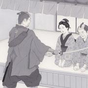 「風かおる」葉室麟・月刊誌扉絵・第5話原画、2014
