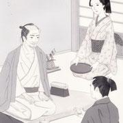 「風かおる」葉室麟・月刊誌扉絵・第3話原画、2014
