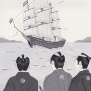 「風かおる」葉室麟・月刊誌扉絵・第6話原画、2014