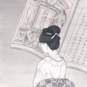 「潮騒はるか」葉室麟・月刊誌扉絵・第4話原画、2016