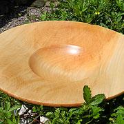 Schale 26: Lindenholz  Ø: 340 mm, H: 75 mm, Wandstärke: 6mm