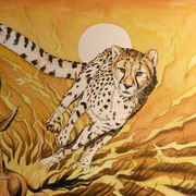 A 37: Speed! (Acinonyx jubatus). 2018, Aquarell 40 x 30 cm.