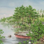 L 19: Skärsjön, Schweden. 2015, Aquarell 40 x 30 cm.
