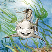 R 3: Die kleine Wasserfrau. 2010, Aquarell 30 x 40 cm.