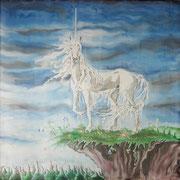 Si 4: Einhorn. 2001, Seidenmalerei 90 x 90 cm: VERKAUFT.