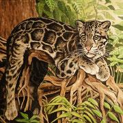 A 29: In My Forest (Sunda-Nebelparder,  Neofelis diardi). 2018, Aquarell 40 x 30 cm: 450.- Euro.
