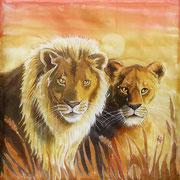 Si 13: König und Königin (Panthera leo). 2015, Seidenmalerei 90 x 90 cm.