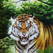 A 9: Guardian Of The Valley (Panthera tigris altaica). 2018 (überarbeitet), Aquarell 30 x 40 cm.