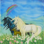 Si 9: Pferdefamilie. 2012, Seidenmalerei 90 x 90 cm: 100.- Euro.