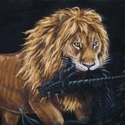 S 21: The Lion of Judah's Kill. 2016, Pastell 70 x 50 cm.