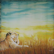 Si 10: Mutter & Kind (Panthera leo). 2013, Seidenmalerei 90 x 90 cm: VERKAUFT.