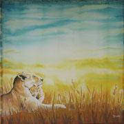 Si 10: Mutter & Kind (Panthera leo). 2013, Seidenmalerei 90 x 90 cm: VERSCHENKT.