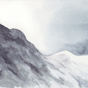 L 8: Kontraste: Berg, 2009, Aquarell 17 x 11,5 cm: 20.- Euro.