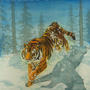 Si 12: Snow Cat (Panthera tigris altaica). 2013, Seidenmalerei 90 x 90 cm: 550.- Euro.