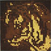 U 1: Sweet Cat. 2013, Schokoladenmosaik, 90 x 90 cm.