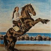A 27: Steigender Friese. 2015, Pastell 24 x 32 cm.