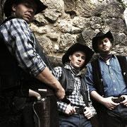 Das Cowboytrio: Mingo (Michael Clauder), Junior (Stephan Lüthy), Moose