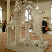 Étude pour un Hommage à Puvis de Chavannes (peintre, ami de Rodin) On voit bien l'assemblage des différents éléments  On y retrouve une œuvre très connue : le Génie du repos éternel
