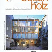 Fachzeitschrift BAUEN MIT HOLZ | Aufzugsschaft aus Holz | Architektur Erik Lorenz