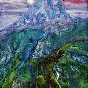 Ossau Peak - acrylic inks on canvas - encres acryliques sur toile 40 x 30 cm - 2005