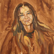 "Emmanuelle - oil on free canvas (sheet) - huile sur toile 40 x 50 cm (16 x 20"") - 2008 - impression"
