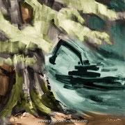 The Fight - oil on canvas - huile sur toile - 80 x 80 cm - 2019