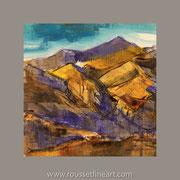 """Etude violette et stil de grain - oil on free canvas - huile sur toile libre marouflée - 40 x 40 cm (16 x 16"""") - 2018"""