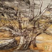 Hêtre - oilstick on canvas - huile en bâton sur toile - 100 x 100 cm - 2018