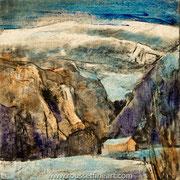 Neiges (Etude #2) - oil on free canvas - huile sur toile libre - 30 x 30 cm - 2018