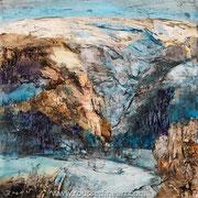 Neiges (Etude #3) - oil on free canvas - huile sur toile libre - 42 x 42 cm - 2018