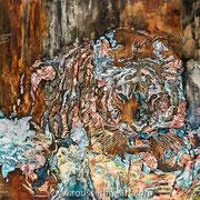 """Tiger - oil on canvas - huile sur toile 152 x 122 cm (60 x 48"""") - 2016 - Composition"""