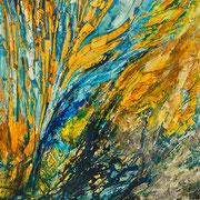 """Coral with no Plastic Bag - oil on canvas - unwrapped painting - huile sur toile - peinture débâchée - 153 x 122 cm (60 x 48"""") - 2016 - impression"""