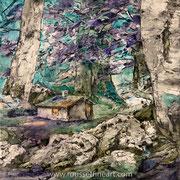 Décroissance - oil on canvas - huile sur toile 120 x 120 cm - 2017 - Composition