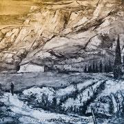 """Sainte-Victoire #3 - oil on canvas - huile sur toile 61 x 76 cm (24 x 30"""") - 2018"""