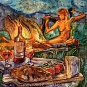 """Diner sur l'herbe - oil on canvas - huile sur toile 60 x 60 cm (24 x 24"""") - 2008 - impression"""