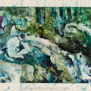 """Matter #3 - acrylic inks on paper smoothed on canvas - encres acryliques sur papier marouflé sur toile - 46 x 56 cm (18 x 22"""") - 2008 - Improvisation"""