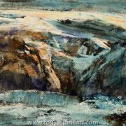 Neiges (Etude #1) - oil on free canvas - huile sur toile libre - 42 x 59 cm - 2018