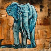 """Blue Elephant - oil on canvas - huile sur toile 50 x 40 cm (20 x 16"""") - 2016 - improvisation"""