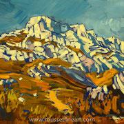 """Montagne Sainte-Victoire - acrylic on canvas - acrylique sur toile 45 x 55 cm (22 x 18"""") - 2005 - impression"""